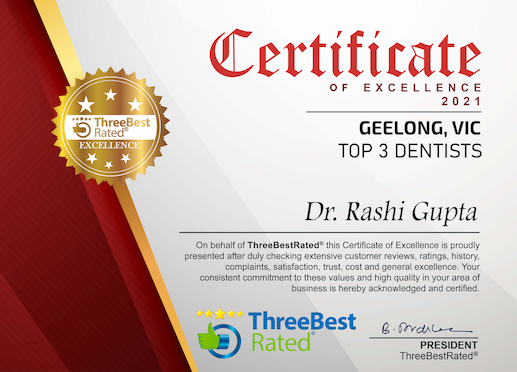 certificate-of-excellence-2021-top-3-dentists-norlane-geelong